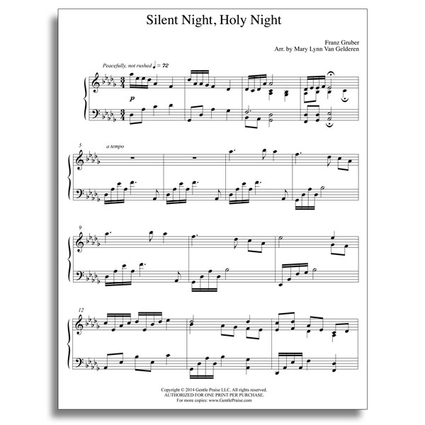 Silent Night Piano Sheet Music Ibovnathandedecker